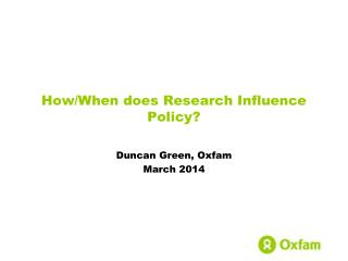 How/When does Research Influence Policy?