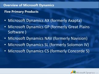 Overview of Microsoft Dynamics
