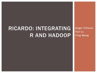 Ricardo: Integrating R  and  Hadoop
