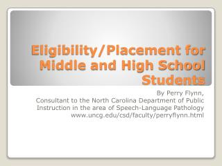 Eligibility/Placement for Middle and High School Students