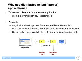 Why use distributed (client / server) applications?