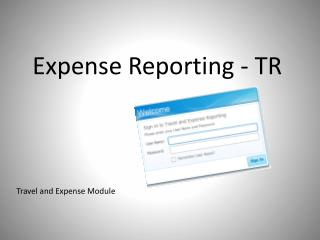 Expense Reporting - TR