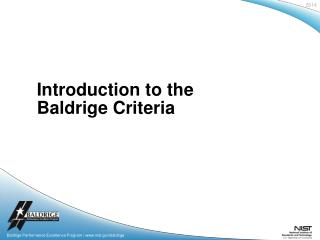 Introduction to the Baldrige Criteria