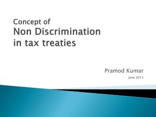 Concept of  Non Discrimination in tax treaties