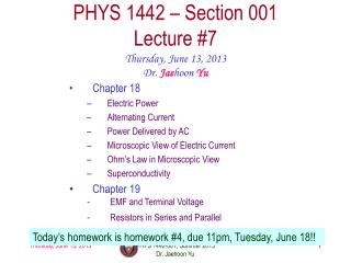 PHYS  1442  – Section  001 Lecture  #7