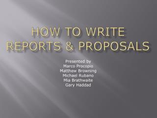 How to write Reports & proposals