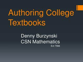 Authoring College Textbooks