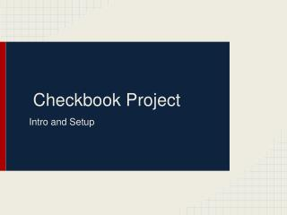 Checkbook Project