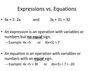 Expressions vs. Equations