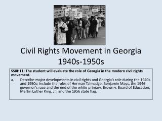 Civil Rights Movement in Georgia 1940s-1950s