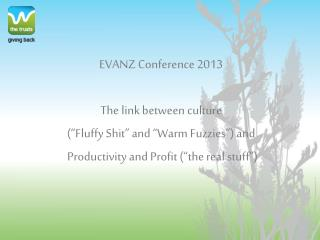 "EVANZ Conference 2013 The link between culture  (""Fluffy Shit"" and ""Warm Fuzzies"") and  Productivity and Profit (""the r"