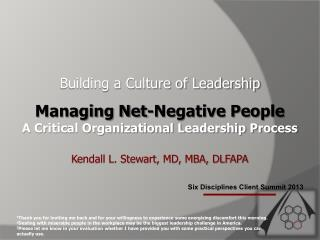 Six Disciplines Client Summit 2013