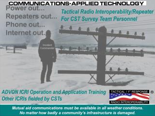 ADVON ICRI Operation and Application Training Other ICRIs fielded by CSTs