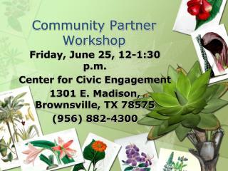 Community Partner Workshop