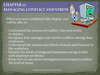 CHAPTER 17: MANAGING CONFLICT AND STRESS
