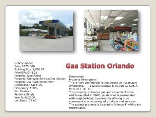 Subco /Sunoco Price:$975,000 Building Size:2,800 SF Price/SF:$348.21 Property  Type:Retail Property  Sub-type:Service /