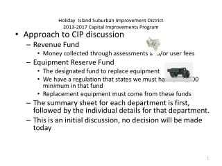 Holiday  Island Suburban Improvement District 2013-2017 Capital Improvements Program