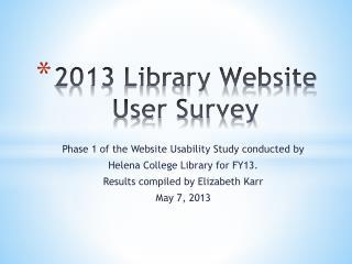 2013 Library Website User Survey