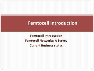 Femtocell Introduction