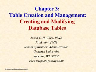 Chapter 3:  Table Creation and Management:  Creating and Modifying Database Tables