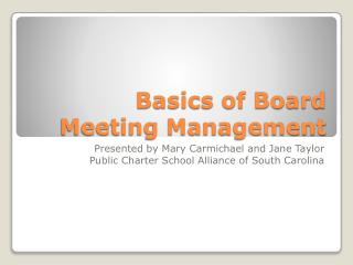Basics of Board Meeting Management