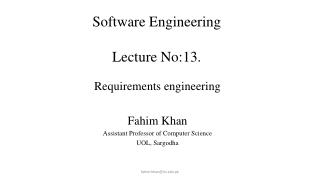 Software Engineering Lecture No:13. Lecture # 7