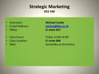 Strategic Marketing 052 430