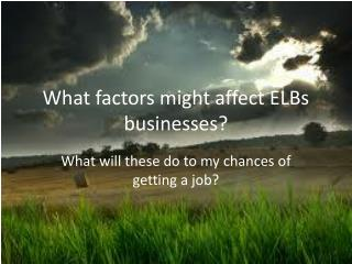 What factors might affect ELBs businesses?