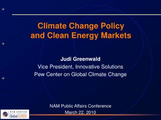 Climate Change Policy  and Clean Energy Markets