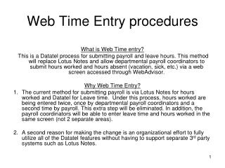 Web Time Entry procedures