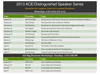 2013 ACE/Distinguished Speaker Series Hosted by the Longhorn Center for Academic Excellence Wednesdays, 5:30-6:30 in UT
