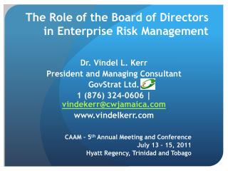 The Role of the Board of Directors in Enterprise Risk Management