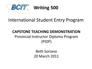Writing 500 International Student Entry Program