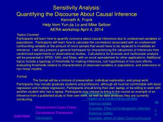 Sensitivity Analysis: Quantifying the Discourse About Causal Inference  Kenneth  A. Frank  Help from  Yun-jia Lo and Mi