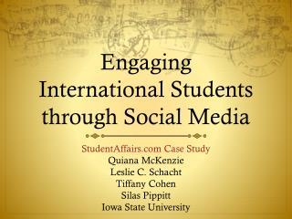 Engaging  International Students through Social Media