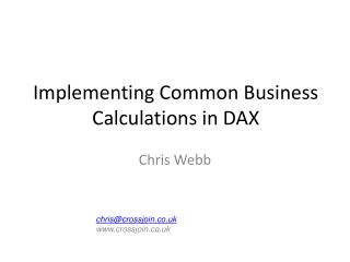 Implementing Common Business Calculations in DAX