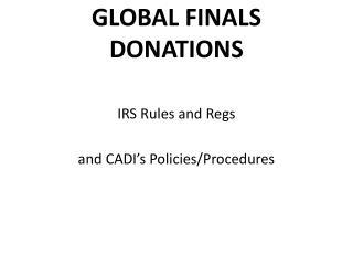 GLOBAL FINALS DONATIONS