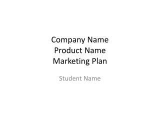 Company Name Product Name Marketing Plan