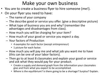 Make your own business