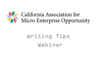 Writing Tips  Webinar