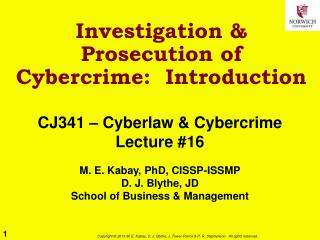 Investigation & Prosecution of Cybercrime:  Introduction