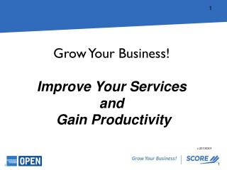 Grow  Your  Business! Improve Your Services and  Gain Productivity
