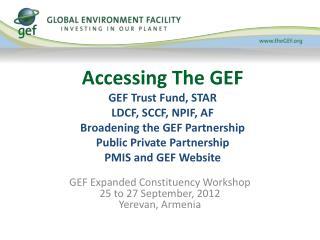 Accessing The GEF GEF Trust Fund, STAR LDCF, SCCF, NPIF, AF  Broadening the GEF Partnership Public Private Partnership