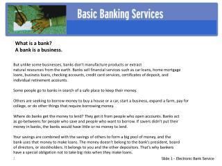Slide 1 - Electronic Bank Service