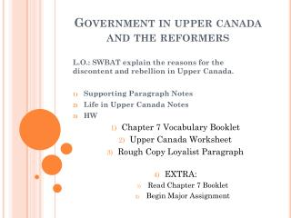 Government in upper canada and the reformers