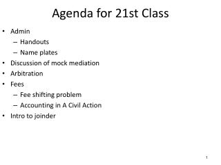 Agenda for  21st  Class