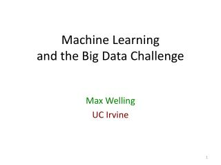 Machine Learning  and the Big Data Challenge