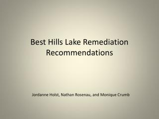 Best Hills Lake Remediation Recommendations