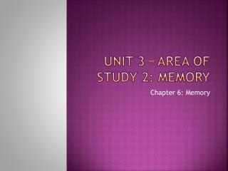Unit 3 – Area of study 2: Memory