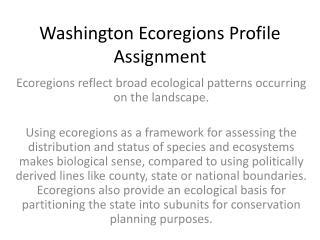 Washington  Ecoregions  Profile Assignment